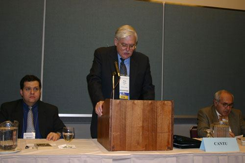Mayor Pete Cantu speaks during the League's Conference Resolution Meeting