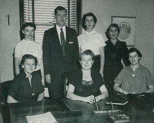 League office staff in 1955