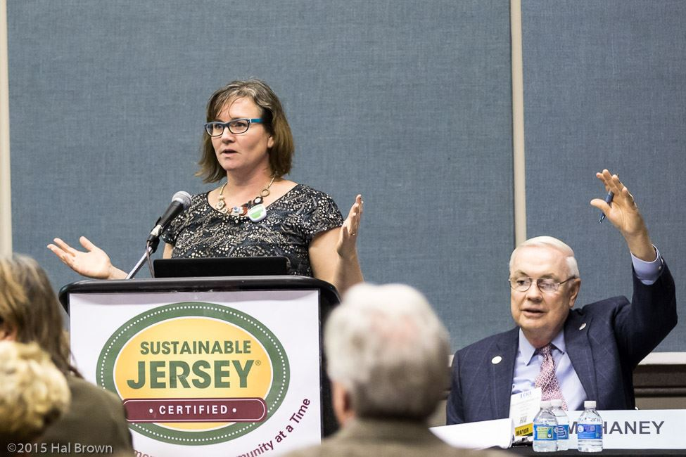 Woman at Sustainable Jersey Podium Addresses Audience