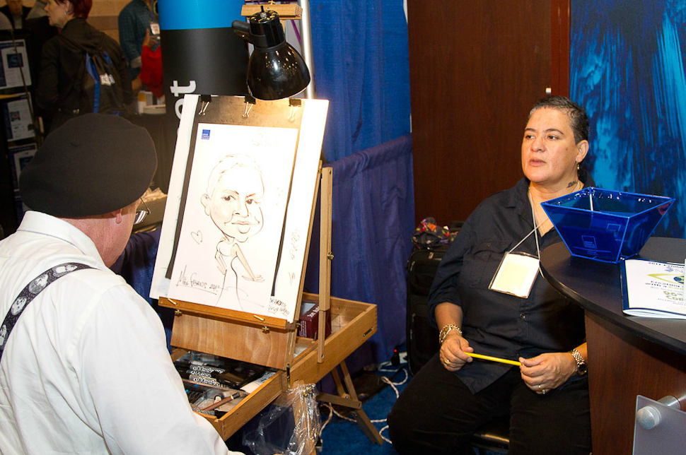Person creating caricature