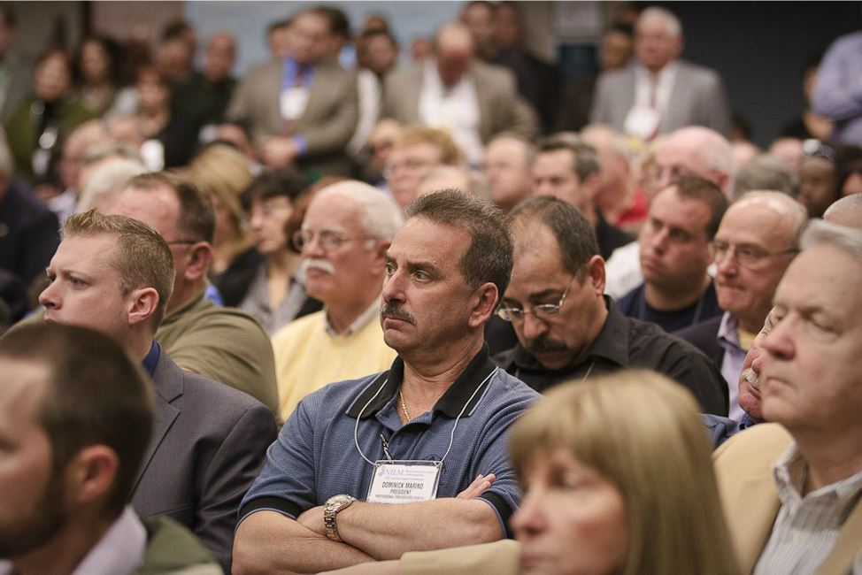 Professional Fire Fighters Association of New Jersey President Dominick Marino in Audience Listens t