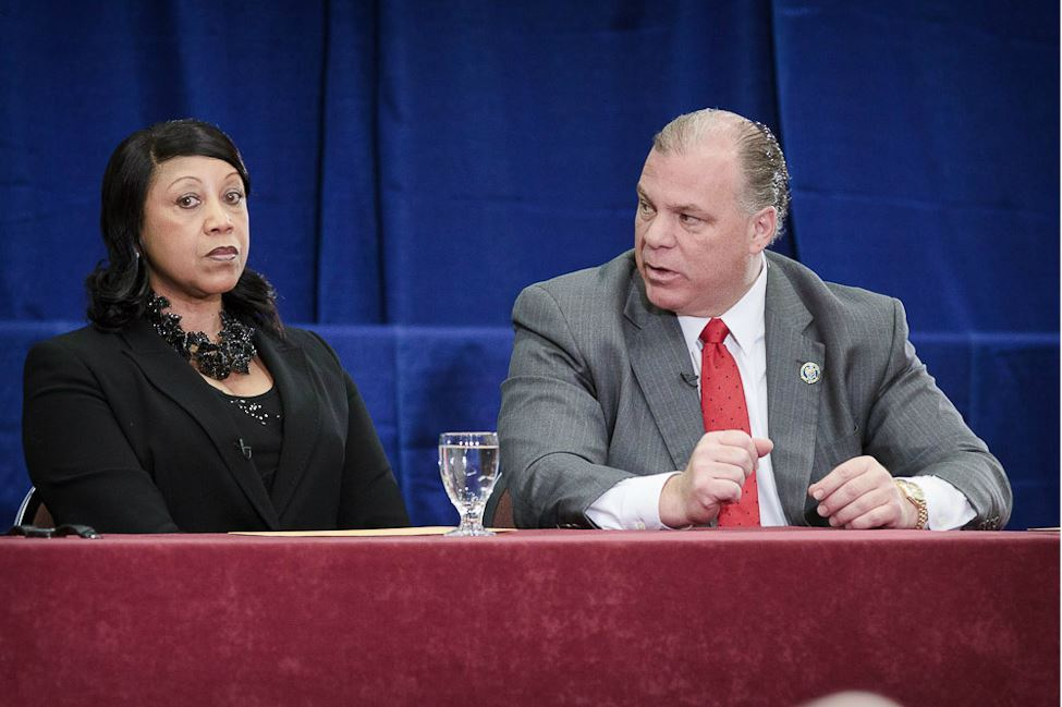 Woman and Man at Panelist Table