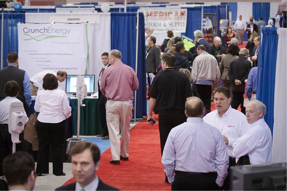 Crowd of Conference Goers in Exhibit Area