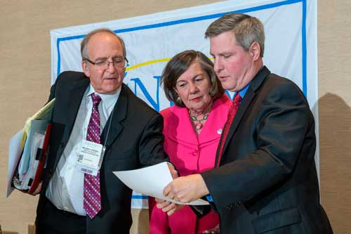 NJLM's William Dressel with Mayors Suzanne Walter and Brian Wahler at a League Business Meeting