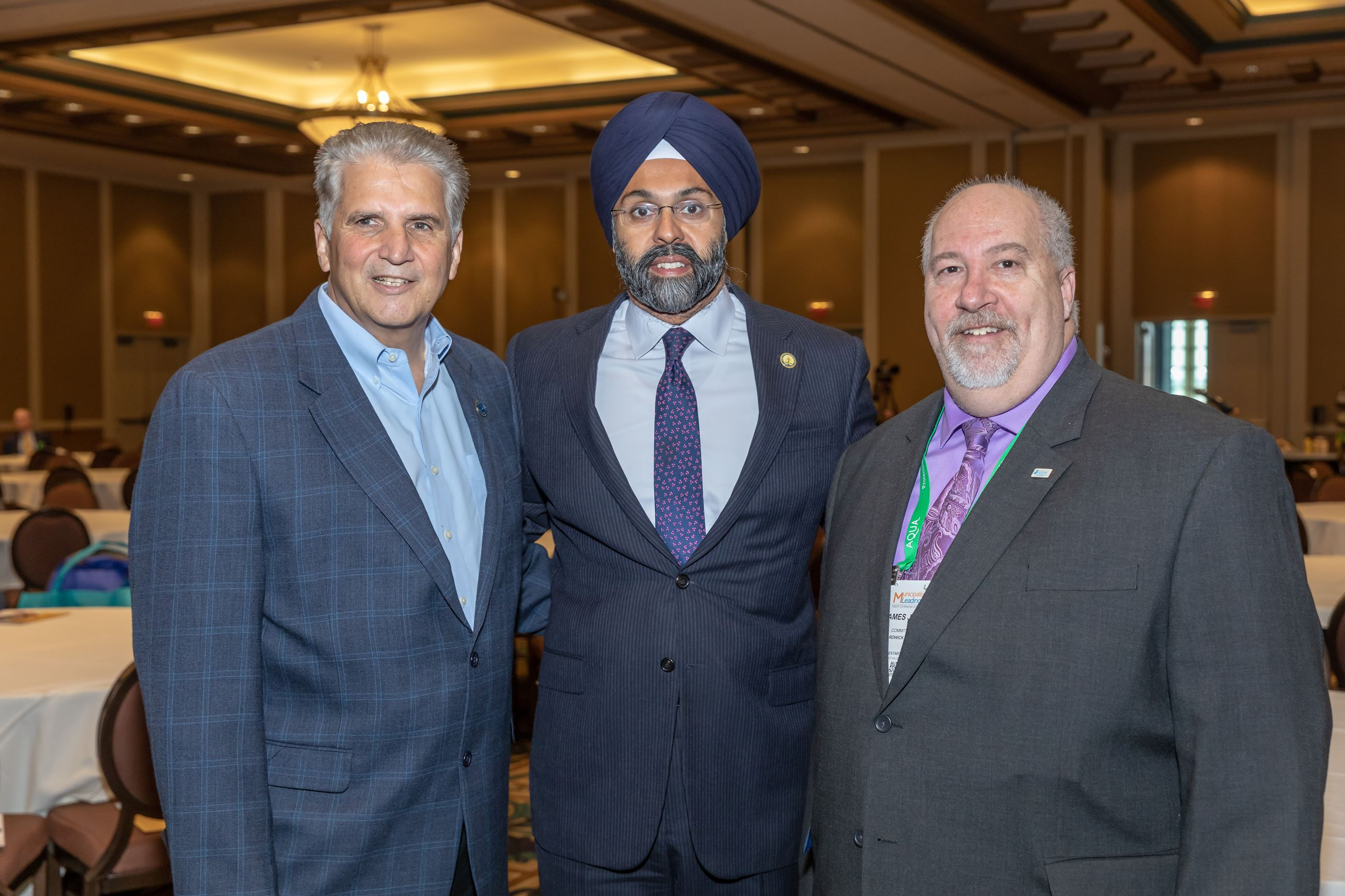 Essex County Executive Joe DeVincenzo, NJ AG Gurbir Grewal, NJLM 2nd VP Committeeman Jim Perry