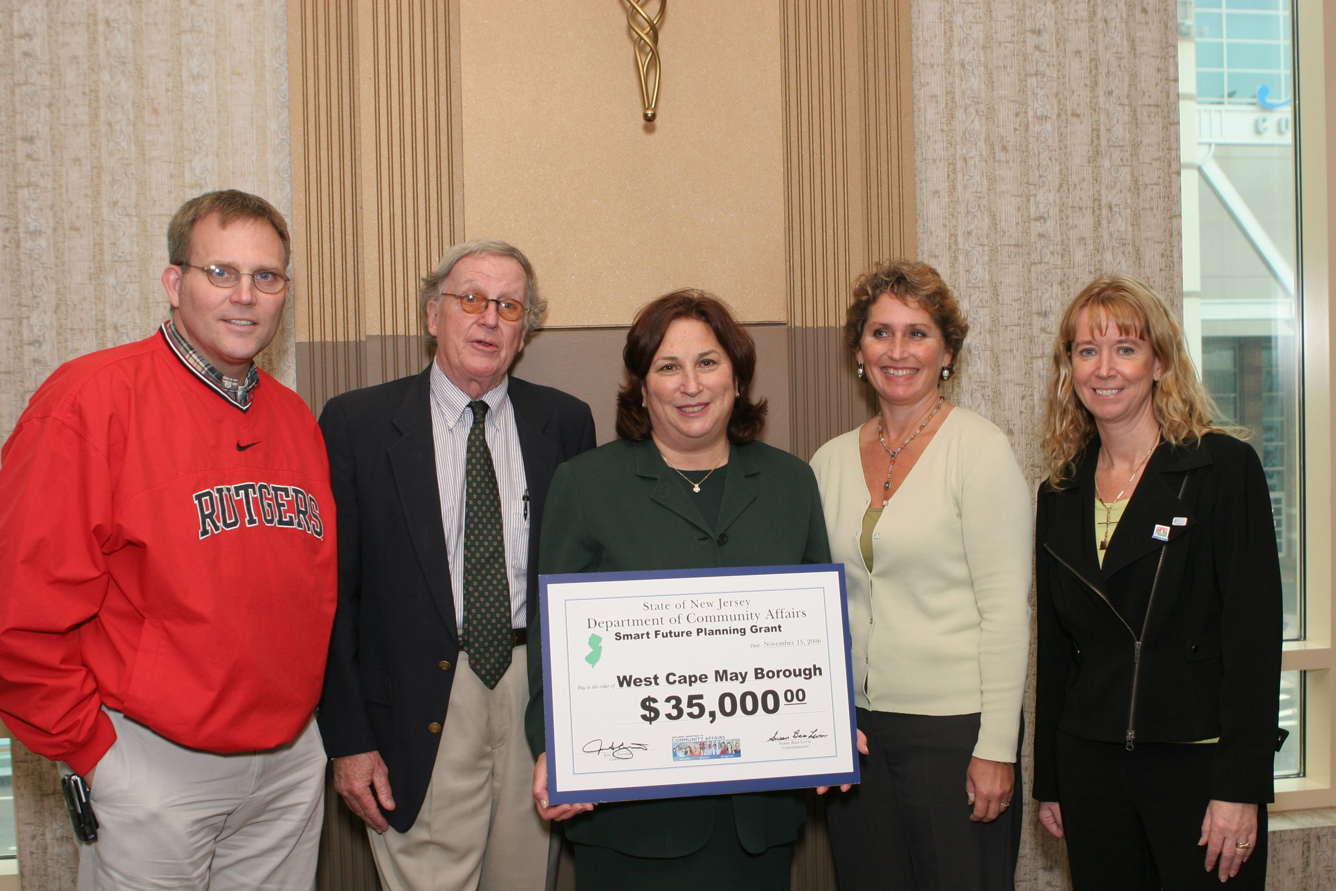 NJ DCA Commissioner Susan Bass Levin presents a Smart Future Planning Grant to West Cape May Borough